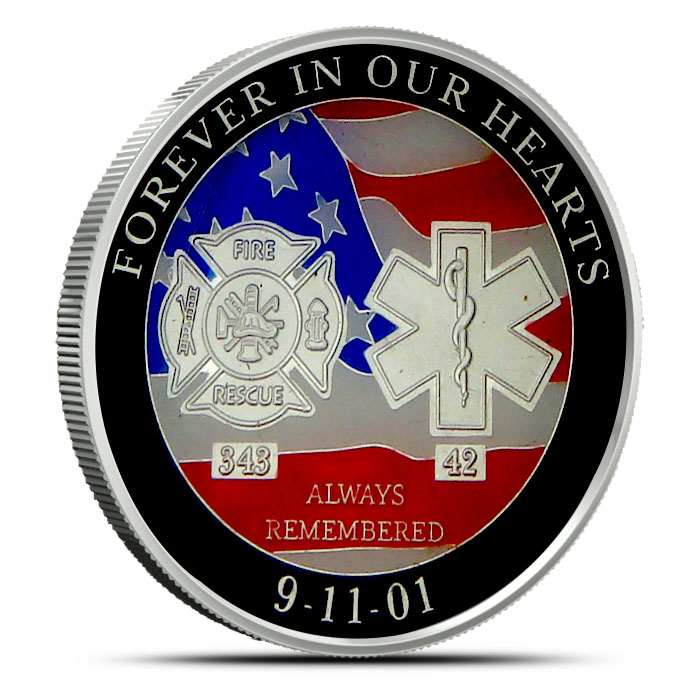 9-11 Tribute Enameled 1 oz Silver Round Obverse