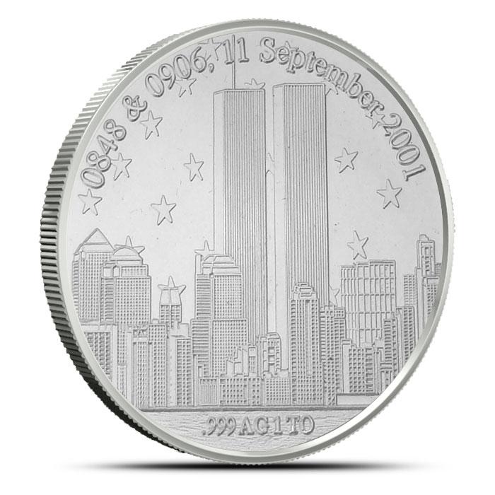 9-11 Tribute Silver Round Reverse