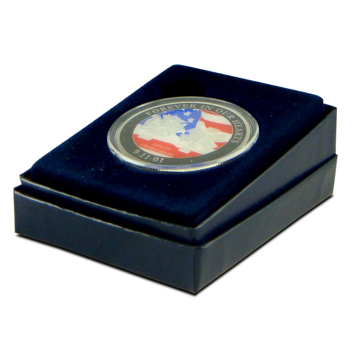 9-11 Enameled Silver Round in Box