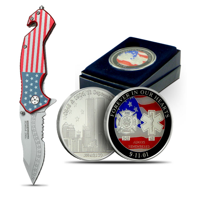 9-11 Forever in our Hearts Enameled Silver Round and Knife Set