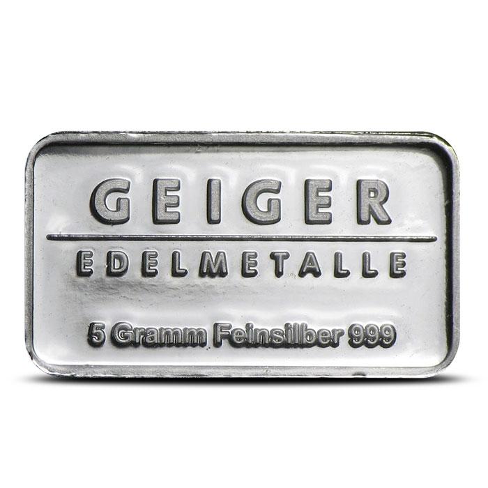 5 Gram Geiger Security Line Silver Bar Reverse