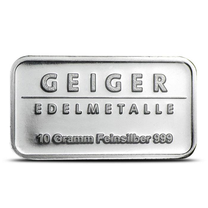 10 Gram Geiger Security Line Silver Bar Reverse