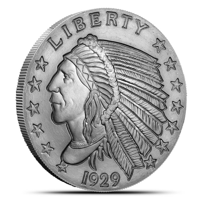 Incuse Indian 2 oz Silver Round