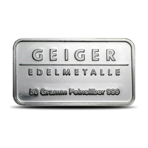 50 gram Geiger Silver Bar