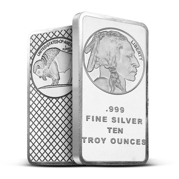 10 oz Silver Bar | SilverTowne - Buffalo