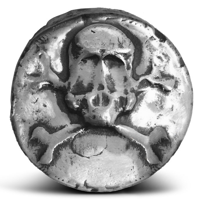 Skull and Crossbones Poured Silver Round