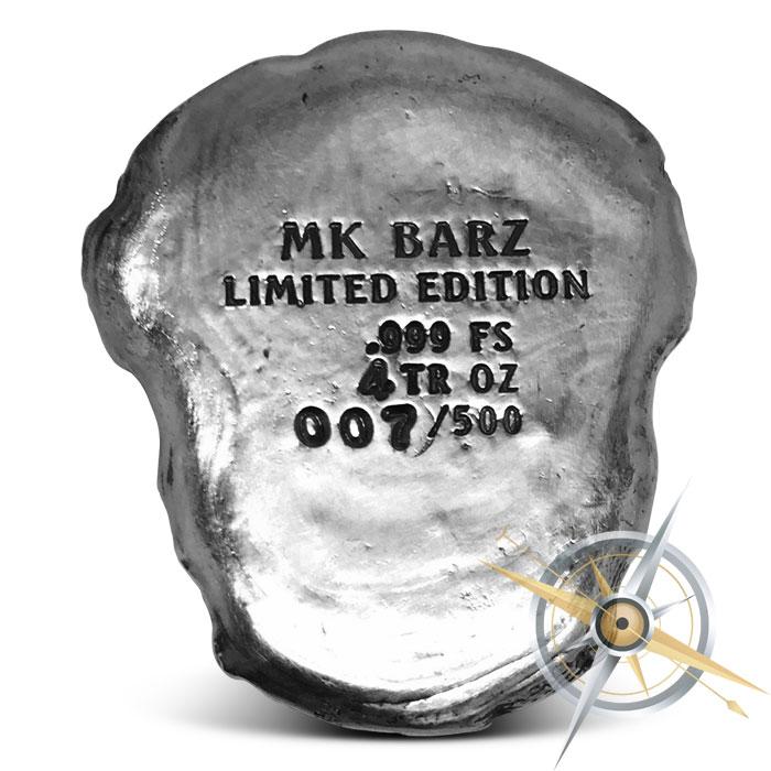 Celtic Skull Poured Silver Bar   MK BarZ