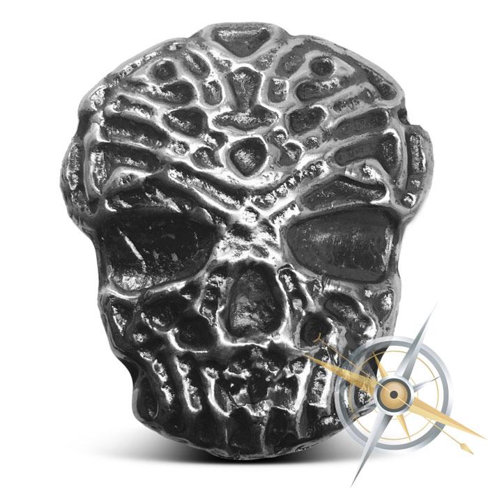 Celtic Skull Poured Silver Bar   4 oz