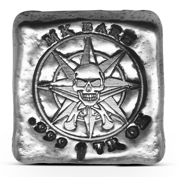 Pirate Compass Poured Silver Bar