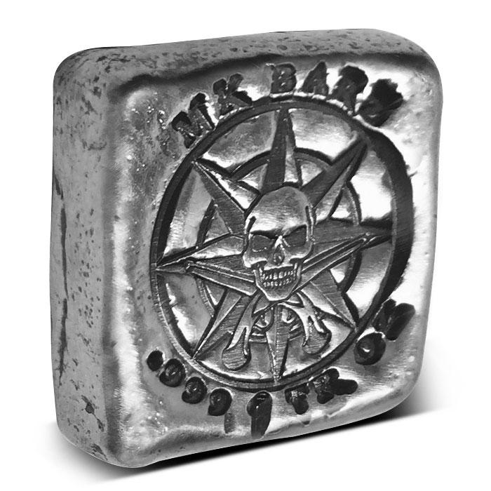 Pirate Compass Poured Silver Bar   1 oz