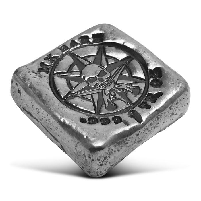 Pirate Compass Poured Silver Square
