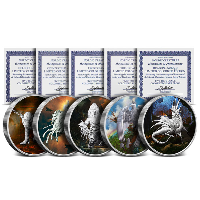 Nordic Creatures Colorized 5 oz Silver Round set with Boxes and COAs