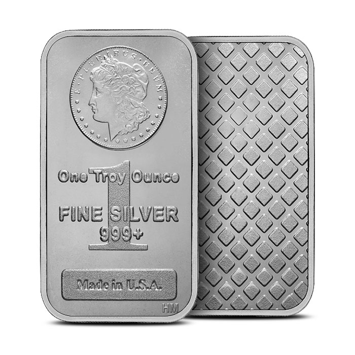 1 oz Silver Morgan Bar Front & Back