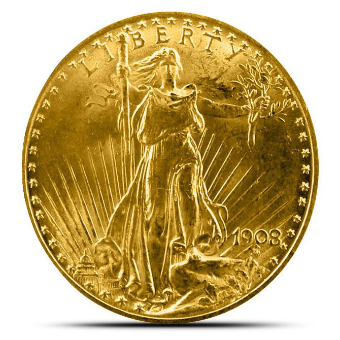 $20 Saint Gaudens US Mint Gold Double Eagle AU+ Obverse