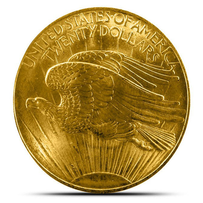 $20 Saint Gaudens US Mint Gold Double Eagle AU+ Reverse