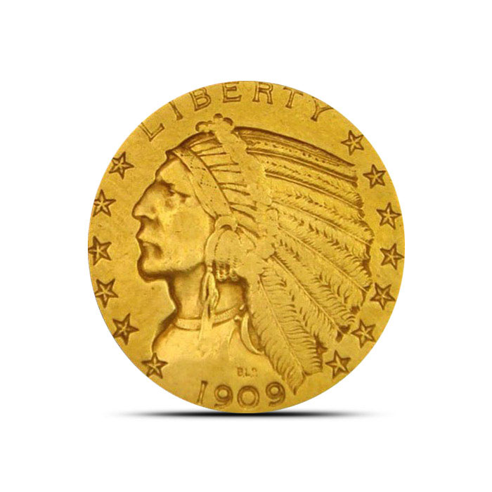 $5 Indian Head US Mint Gold Half Eagle Coin Obverse