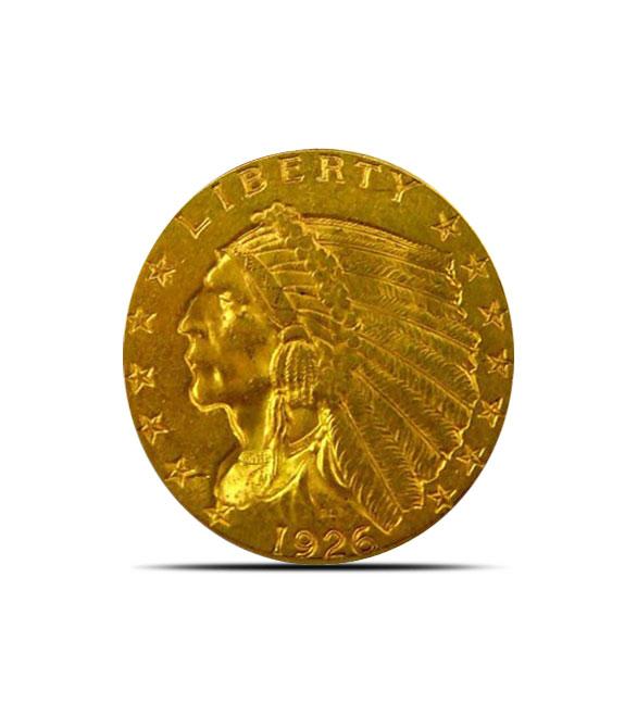 2.50 Indian Head US Mint Gold Quarter Eagle Coin AU+ Obverse