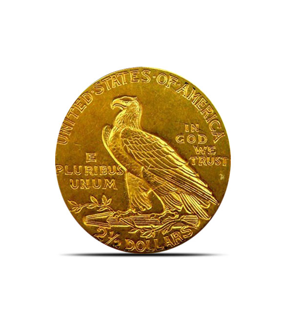 2.50 Indian Head US Mint Gold Quarter Eagle Coin AU+ Reverse