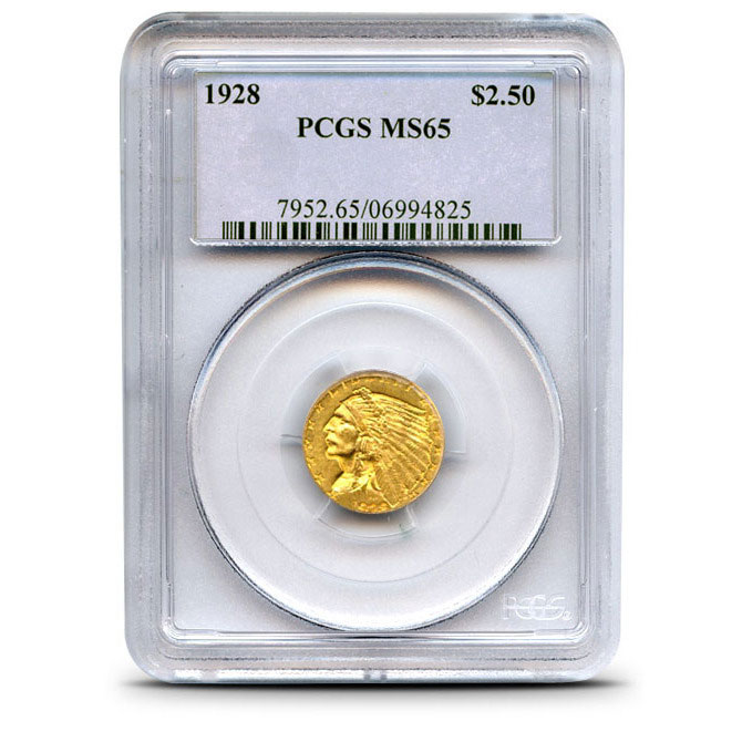 $2.50 Indian Head PCGS MS65 Gold Half Eagle Coin Obverse