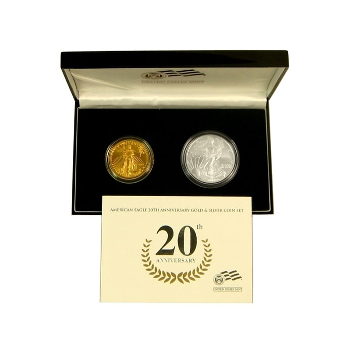 2006-W 2 Coin 20th Anniversary Gold & Silver American Eagle Set Box and Certification