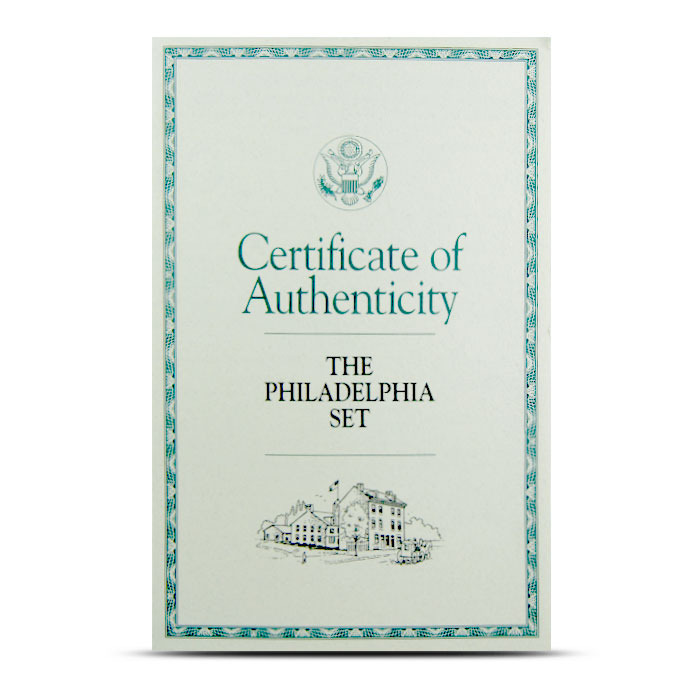 The Philadelphia Set Certificate of Authenticity