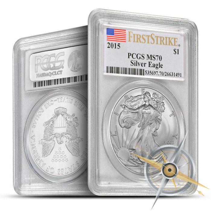 2015 1 oz American Silver Eagle PGCS MS70 | Flag Label