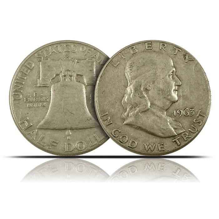 $1 Face Value 90% Silver US Franklin Halves