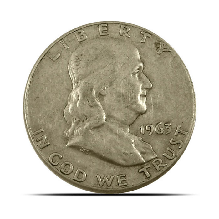 $1 Face Value 90% Silver US Franklin Halve Obverse