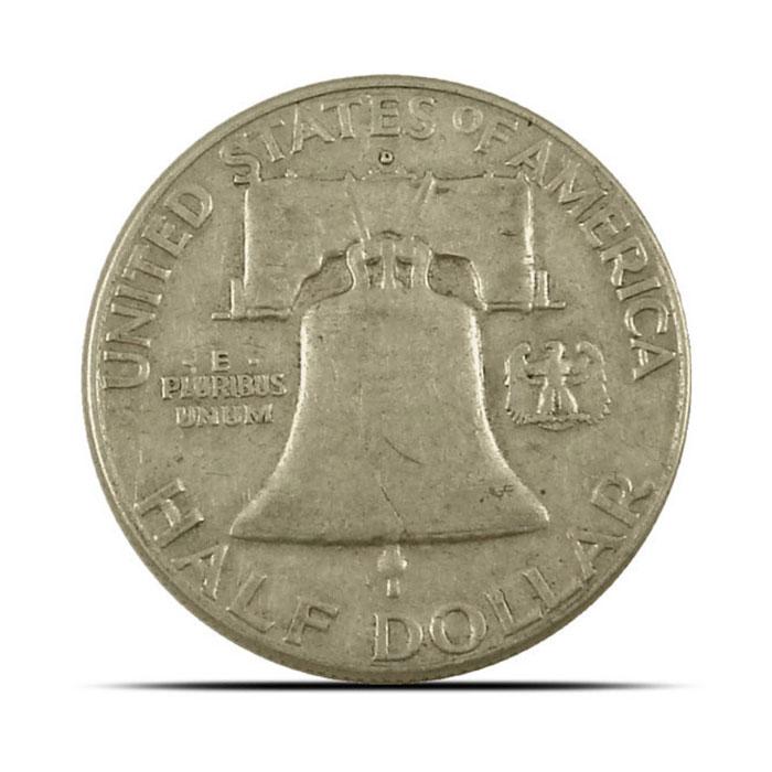 $1 Face Value 90% Silver US Franklin Halve Reverse