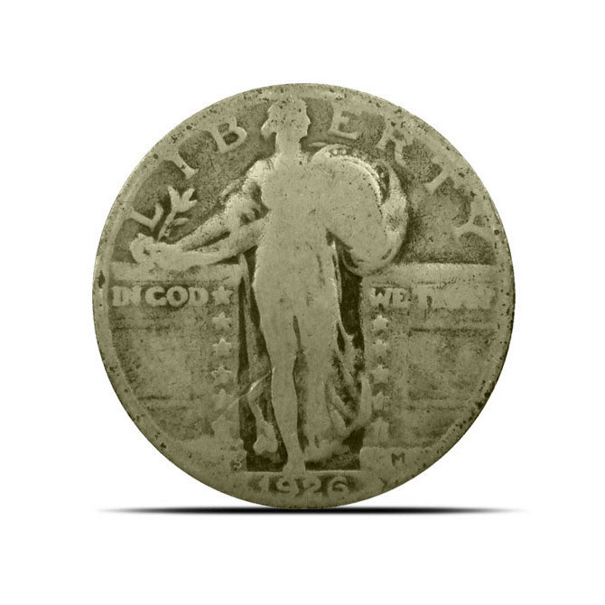 G+ $1 Face Standing Liberty Quarter Coin Obverse
