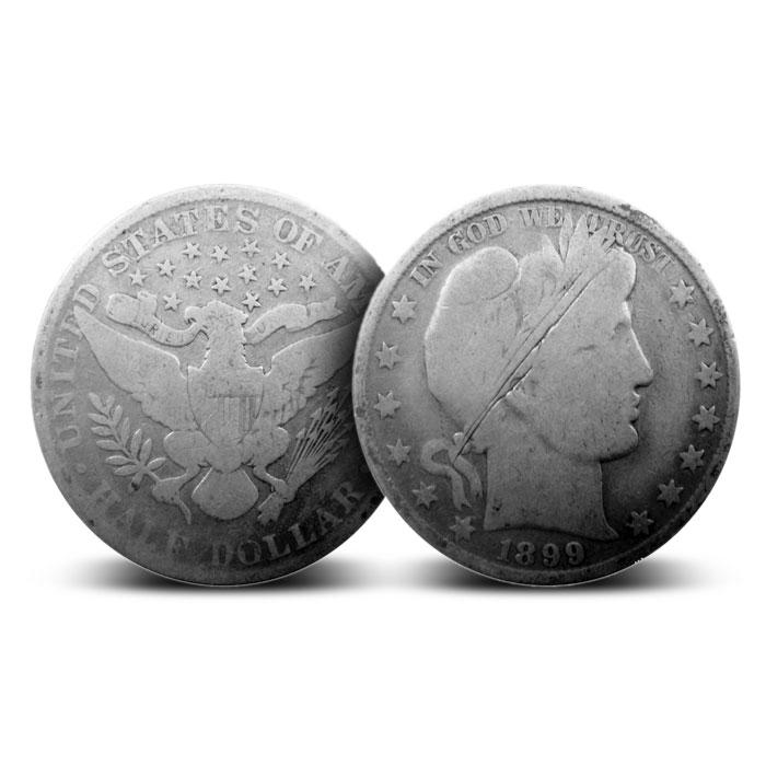 $1 Face Value Cull Barber Half Dollars 90% Coins