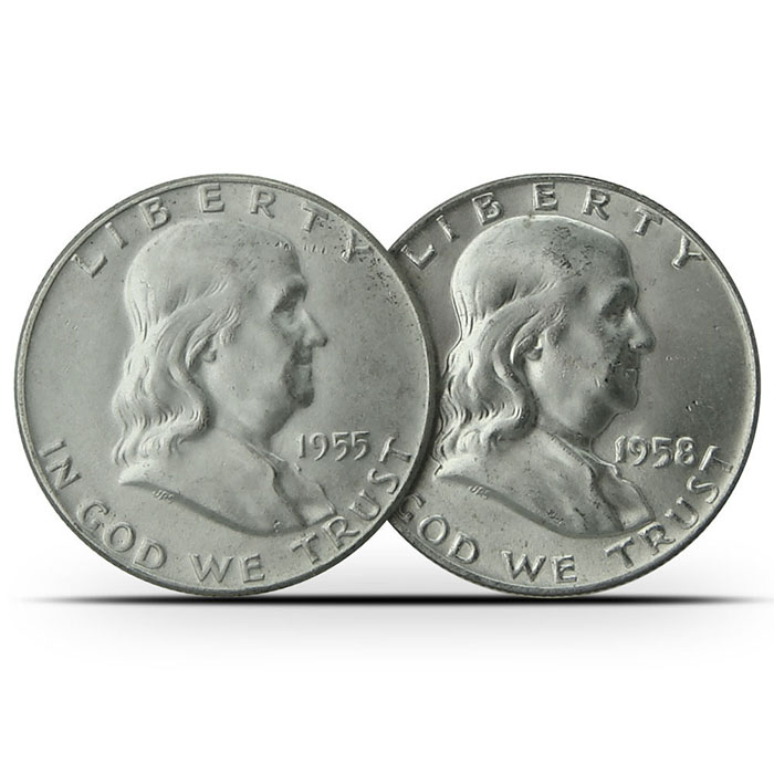 $1 Face Value AU 90% Silver US Franklin Half Dollar Coins