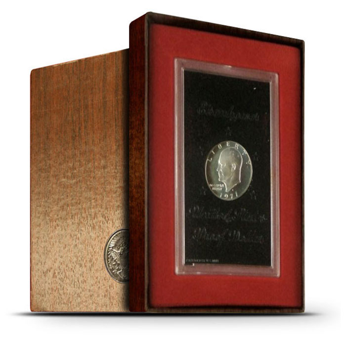 """1971 S 40% Silver PROOF """"Brown"""" Eisenhower Ike Dollar Coin"""
