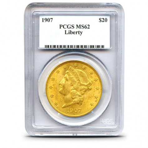 $20 Liberty PCGS MS62 Gold Double Eagle Obverse
