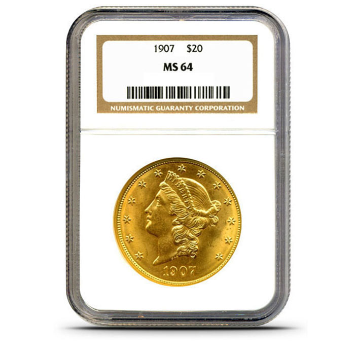 $20 Liberty NGC MS64 Gold Double Eagle Coin Slabbed