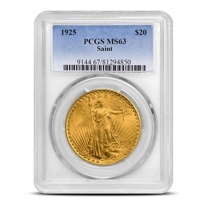 $20 Saint Gaudens PCGS MS63 Gold Double Eagle Coin Slabbed