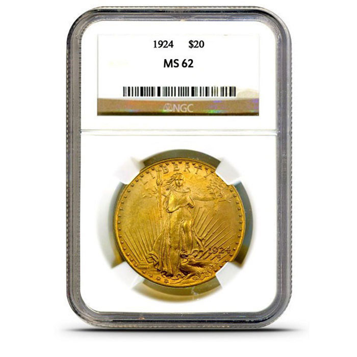$20 Saint Gaudens NGC MS62 Gold Double Eagle Coin Slabbed