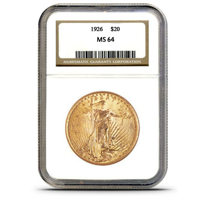 $20 Saint Gaudens NGC MS64 Gold Double Eagle Coin Slabbed