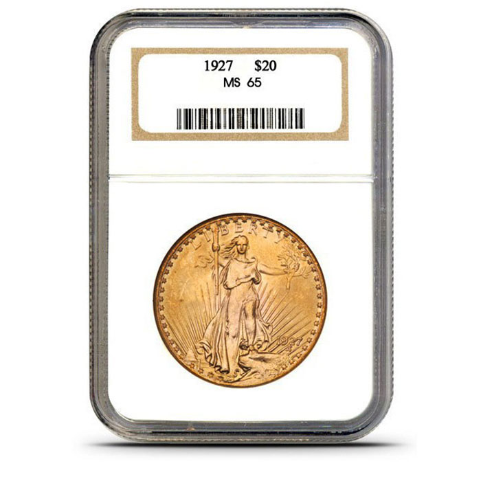 $20 Saint Gaudens NGC MS65 Gold Double Eagle Coin Slabbed