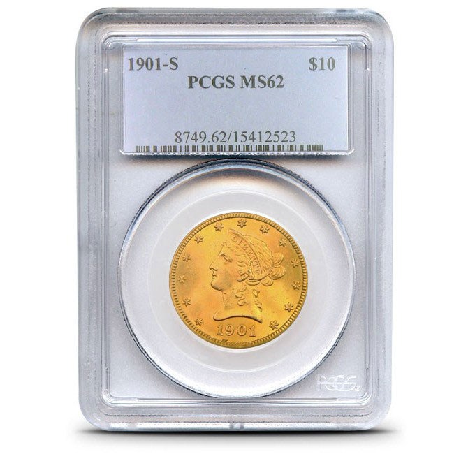 $10 Liberty PCGS MS62 Gold Eagle Coin Slabbed