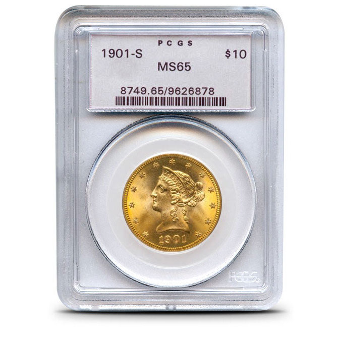 $10 Liberty PCGS MS65 Gold Eagle Coin Obverse