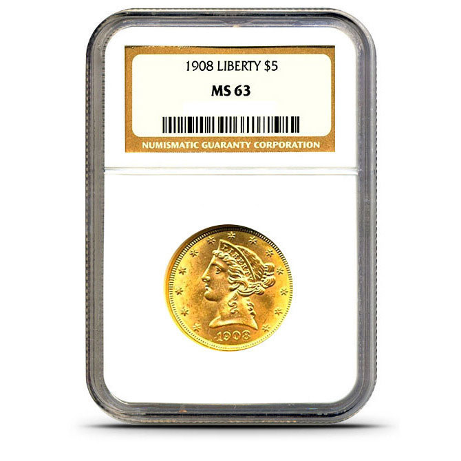 $10 Liberty NGC MS63 Gold Eagle Coin Slabbed
