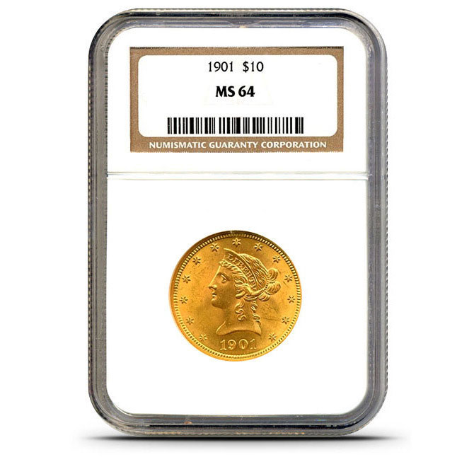 $10 Liberty NGC MS64 Gold Eagle Coin Slabbed
