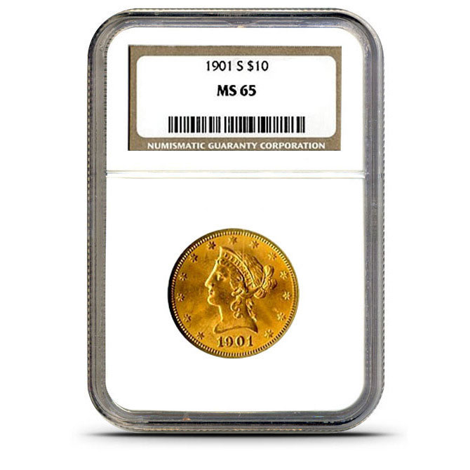 $10 Liberty NGC MS65 Gold Eagle Coin Slabbed
