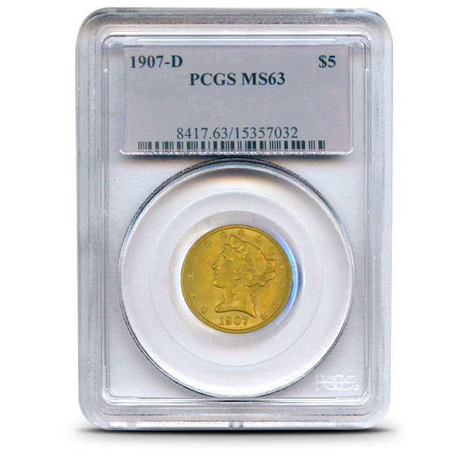 $5 Liberty PCGS MS63 Gold Half Eagle Coin Slabbed