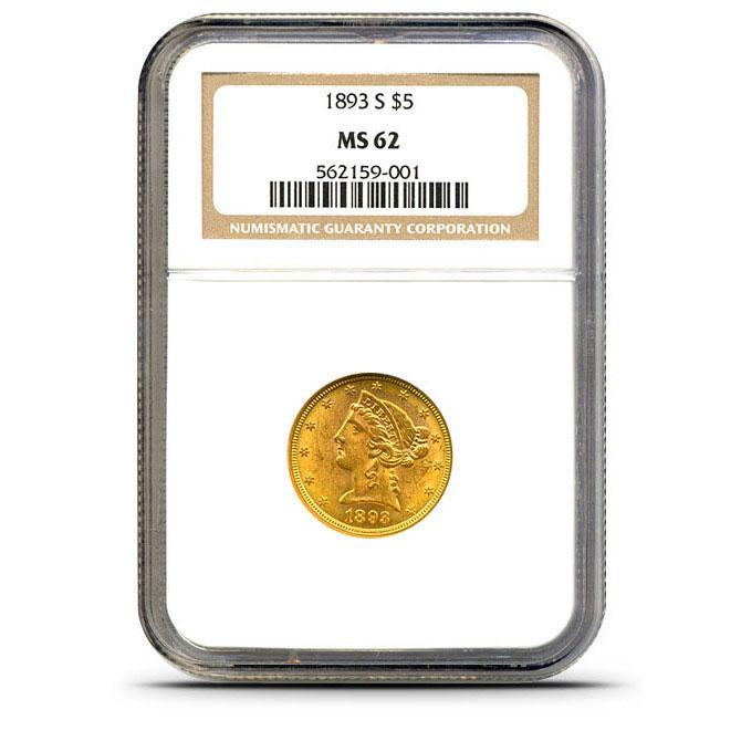 $5 Liberty NGC MS62 Gold Half Eagle Coin Obverse