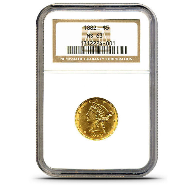 $5 Liberty NGC MS63 Gold Half Eagle Coin Obverse