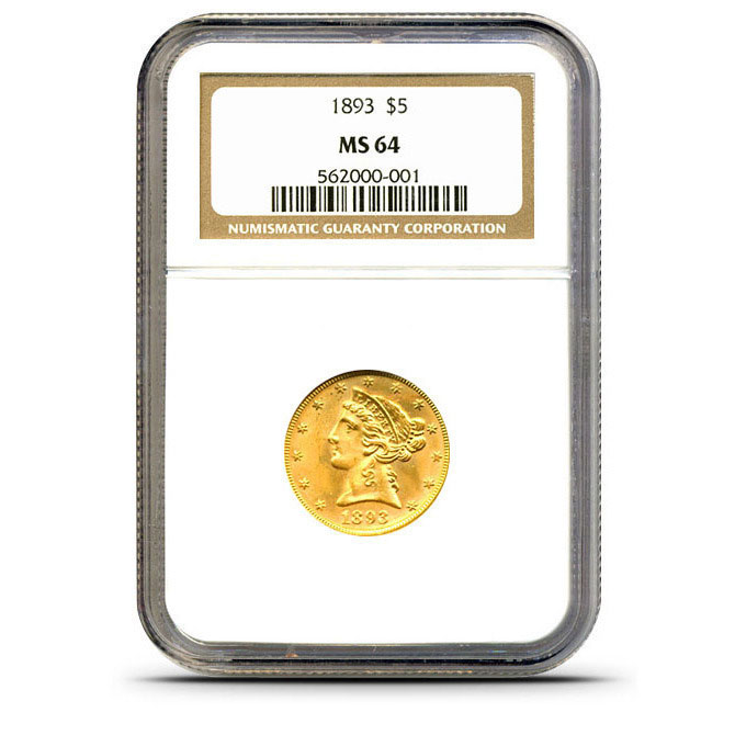 $5 Liberty NGC MS64 Gold Half Eagle Coin Obverse