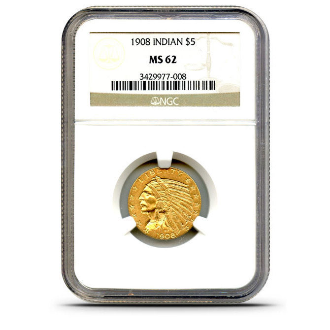 $5 Indian Head NGC MS62 Gold Quarter Eagle Coin Obverse