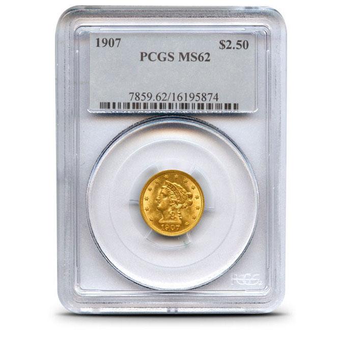 $2.50 Liberty PCGS MS62 Gold Quarter Eagle Coin Obverse